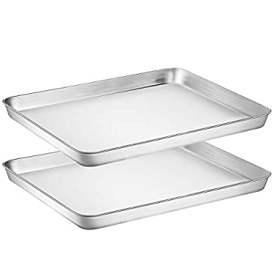 Wildone Baking Sheet Set of 2 - Stainless Steel Cookie Sheet Baking Pan, Size 16 x 12 x 1 inch, Non Toxic & Heavy Duty & Mirror Finish & Rust Free & Easy Clean