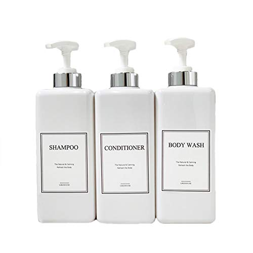 CNC 2705 oz Pump Bottle of The Bathroom 4 Waterproof Label Sticker Pack of 3 Shower Plastic Bottles Soap Dispenser SilverWhite