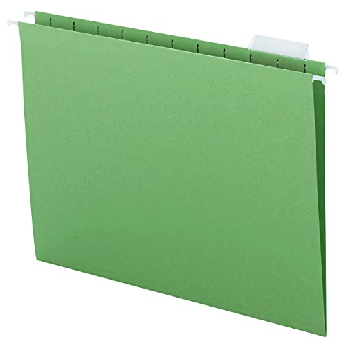 Smead Colored Hanging File Folder with Tab, 1/5-Cut Adjustable Tab, Letter Size, Green, 25 per Box (64061)