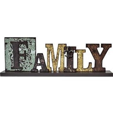 Family Table Sign Distressed Cut-Out Typeset Letters Fleur De Lis Country Primitive DÃcor by BCD