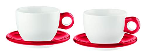 Guzzini 27750065 Set DE 2 Tasses A Petit-Dejeuner avec sous-Coupes, SMMA|Porcelain, Rouge Transparent