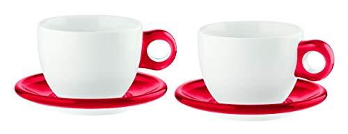 Guzzini Fratelli Gocce, 2 Frühstückstassen mit Untertassen, SMMA|Porcelain