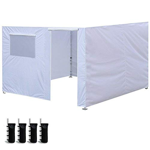 shunlidas 3X3m Oxford Cloth Party Tent Wall Sides Waterproof Garden Patio Outdoor Canopy Canopy Tent Commercial Instant Gazebos-White