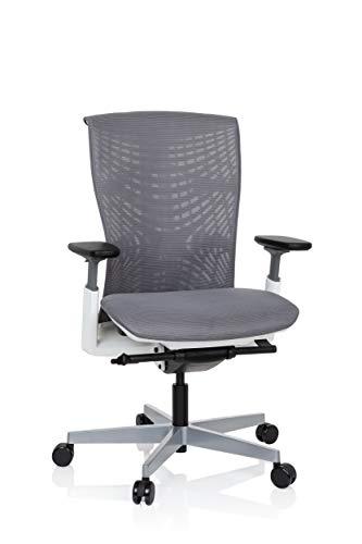 hjh OFFICE 640513 Profi Bürostuhl SKOPE TPE mit Netz-Bezug Grau/Weiß ergonomischer Schreibtischstuhl, Flexible Rückenlehne, Sitztiefe & Armlehnen verstellbar