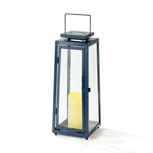 Blue Outdoor Candle Lantern - 15 Inch Tall, Solar Powered, Navy Metal with Glass, Waterproof Flameless Pillar Candles, Dusk to Dawn Timer, Flickering LED Lights, Rustic Farmhouse Patio Decor