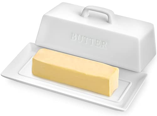 PriorityChef Ceramic Butter Dish with Lid for Countertop, Butter Keeper for Counter or Fridge, Covered Butter Tray Holder For Butter Storage, Holds 1 Stick, White