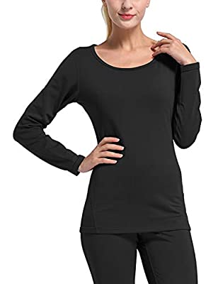 BALEAF Women's Heavy Weight Thermal Shirt Tops Compression Base Layer Underwear Black Size L