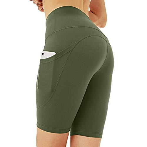 Dames yoga broek met hoge taille met zakken, ademende yoga broek met hoge taille, atletische hardloopshort voor dames, legergroen