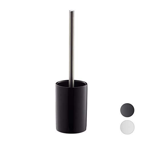 Relaxdays, schwarz Garnitur Keramik, WC-Bürstenhalter mit Toilettenbürste, Wechselbürstenkopf, freistehend, 36 cm