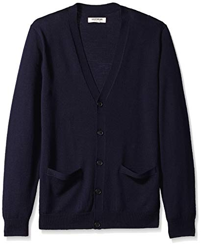 Amazon Brand - Goodthreads Men's Lightweight Merino Wool Cardigan Sweater, Navy, Large