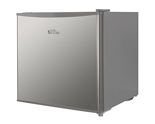 Kuhla 43 Litre Mini Fridge with Ice Box, Inc Adjustable Thermostat, Door Racks and Removable Shelf, Small Drinks Fridge Ideal for Home and Office – Silver, KTTF4SSGB