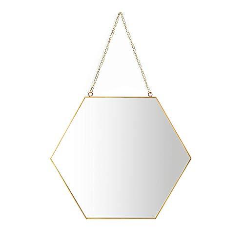 Espejo colgante, marco de latón con espejo de maquillaje hexagonal para baño de 26 x 30 cm con cadena para colgar [tamaño mediano]