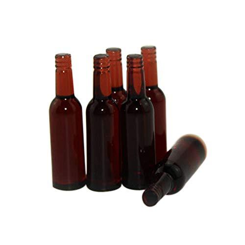 Ruby569y Puppenhaus-Zubehör für Heimwerker, 6 Stück, Miniatur-Bierflasche, Esszimmer, Getränke, Simulation, Küchenspielzeug, Geschenk, Grün braun