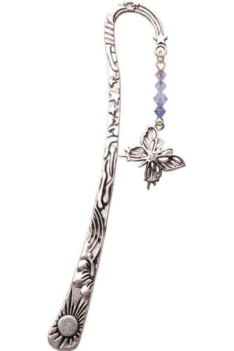 & Pewter-Segnalibro in cristallo Swarovski con farfalla Inspirational-Ciondolo in peltro