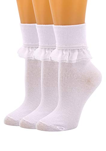 SEMOHOLLI Women Ankle Socks, Women Lace Ruffle Frilly Ankle Socks Fashion Ladies Girl Princess (3 Pairs-white)