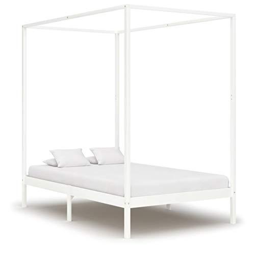 VidaXL - Struttura letto a baldacchino, in legno di pino massiccio, 120 x 200 cm, colore: Bianco