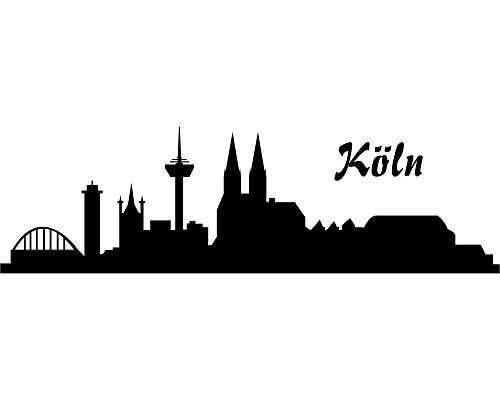 Samunshi® Wandtattoo Köln Skyline 30x9cm schwarz