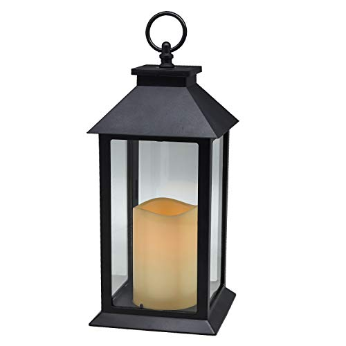 Hanging Glass Panes Lantern Portable Led Candle Light Operated by 3AAA Battery Use for Garden Yard,...