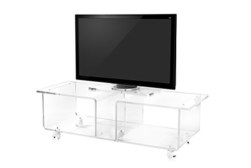 Iplex Design Imago Double Mobile TV-standaard met wieltjes, plexiglas/PMMA, transparant