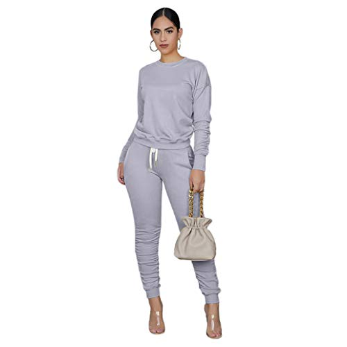 2 piece sweatsuits for Women's Solid Long Sleeve Tights Long Pants Sport Suits Tracksuits( grey,M)