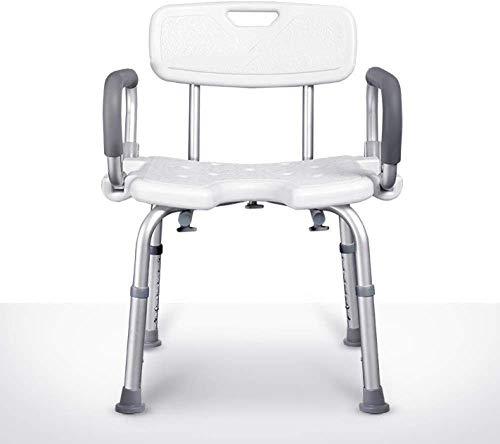 N /A Badehocker für die Dusche Hochleistungs-Badhocker Höhenverstellbarer Badestuhl mit Rückenlehne max. Benutzergewicht 158 kg, weiß