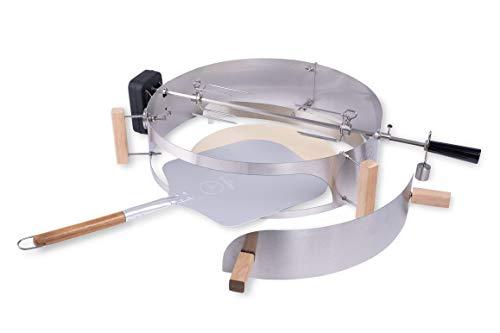 Moesta-BBQ 10244 Smokin\' PizzaRing-Rotisserie-Set – Für Kugel-Grills mit 60cm Durchmesser – inkl. Pizzastein und Motor