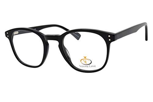 Rx-able Reading Eyeglass Frames, Mens and Women Premium Designer Acetate Hand Made Optical Frame With Rxable Demo Lenses (Vintage Black)