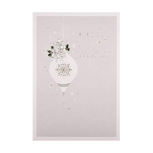 Kerstkaart voor zuster van stempel - reliëf zilver verijdeld ontwerp