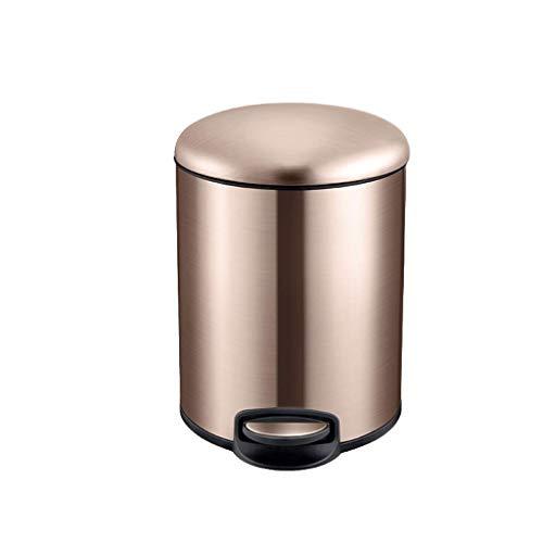 La bote de basura, la perilla de basura redonda de acero inoxidable con la tapa se puede usar en la sala de estar de la sala de estar de la cocina de la caja de baño de 5 litros / 9 litros / 13 litros