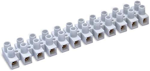 Regleta Empalmes de 12 Secciones para Cables hasta 2,5mm, Conexión Eléctrica hasta 15A. Color Blanca