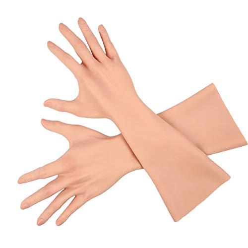 Crossdressing Silikonhandschuhe Realistische Haut Handlänge 40cm Frauen Silikon Weiche Hand Handschuhe Palm Halblanger Arm zum Crossdresser