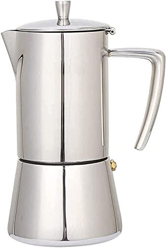 ZXYDD Cafetera de 300 ml, 6 tazas de acero inoxidable, para cafetera, para cafetera, de 300 ml, con fondo ancho para el hogar (color: blanco, tamaño: 300 ml) (color: blanco, tamaño: 300 ml)