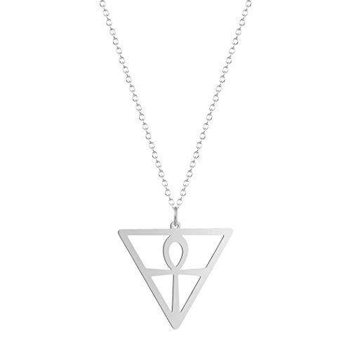CEXTT Triángulo geométrico Ankh Collar para Mujer Hombres Joyería de Acero Inoxidable Religión Collar Colgante Egipcio Regalo