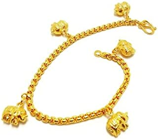 Elephant Thai Gold Plated Bangle 24k Thai Baht Yellow Gold Filled Bracelet 6.5 Inch 15 Grams