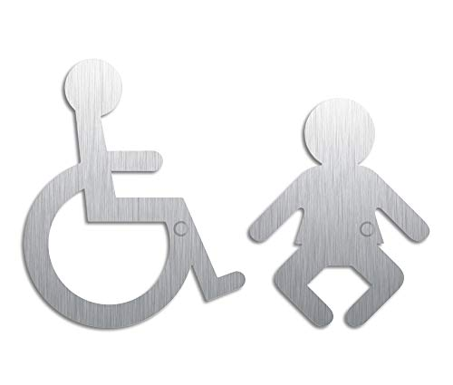 Hinweisschilder | Edelstahlpiktogramme Rollstuhl Wickelraum | 2er-Set Original Türschilder aus der Ofform Edelstahlschilder-Kollektion | Nr.1116
