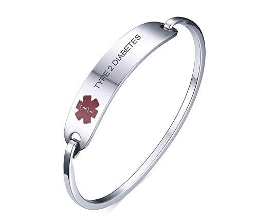 VNOX Medical Alert Emergency Jewelry Type 2 Diabetes Stainless Steel Cufff Bangle Bracelet for Women Girl