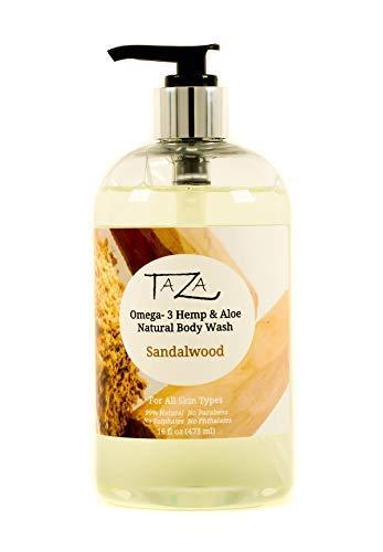 Premium Taza Natural Omega-3 Hemp & Aloe Sandalwood Body Wash, 16 fl oz (473 ml) For Soft Smooth Skin Contains: Omega-3…
