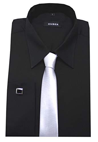 HUBER Manschettenhemd schwarz mit Krawatte u. Man.knöpfe M