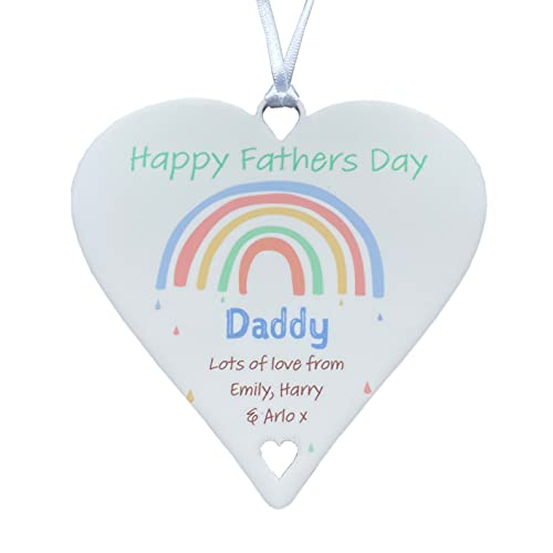 Personalised Cute First 1st Fathers Day as a New Daddy 2021 Gift from Daughter or Son for Daddy Grandad Pastel Multicoloured Keepsake Rainbows Plaque (Rainbow - White, 10cm Heart)