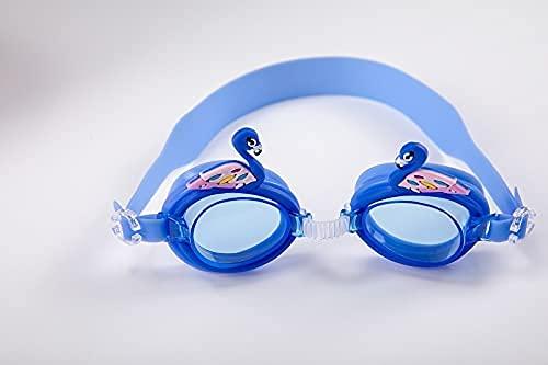 LZZB Gafas de natación Ajustables de Silicona para niños Gafas de natación Encantadoras para niños Gafas de natación Lindas y Coloridas para niños y niñas (Color: Azul Oscuro)