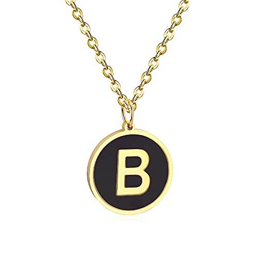 yuanyuan Collares de Letras Iniciales A-Z Collares de Concha Negra Collares de Acero Inoxidable Letra del Alfabeto Collar de Cadenas de Moda para Mujeres/niñas Regalo de Fiesta B