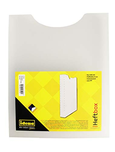 Idena 225164 - Heftbox, für DIN A4, Hochformat, aus PP, Füllhöhe 4 cm, transparent, 1 Stück