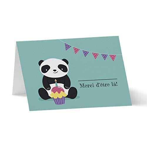 Partycards marca Place para boda, bautizo, cumpleaños o Navidad   portanombres de mesa de papel – 50 tarjetas de nombre A7 (Modelo: Panda) – Juego de 50 tarjetas sin ajuste