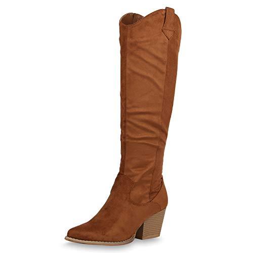 SCARPE VITA Damen Stiefel Cowboystiefel Leicht Gefütterte Cowboy Boots Western Schuhe Holzoptik Chunky Heels Westernstiefel 187534 Hellbraun 39
