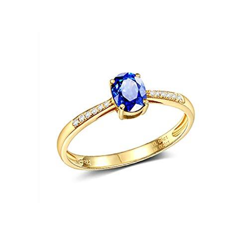 Beydodo Anillo de Mujer Oro 18K Oro Oval Zafiro Azul Blanco 0.66ct Anillo Talla 20