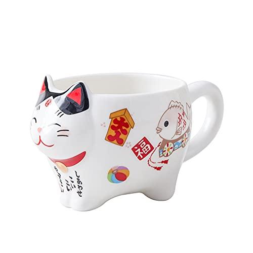 Juego de té de porcelana con diseño de gato de la suerte, creativo Maneki Neko taza de té de cerámica con colador, taza de tetera con gato Plutón, 1 taza de 120 ml