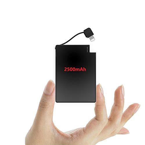 TNTOR 2500mAh Powerbank, Super Ultra Dünn Design [nur 4 mm] Built In Kable klein Externer Akku mit Sicherer Ladechip (für iPhone)
