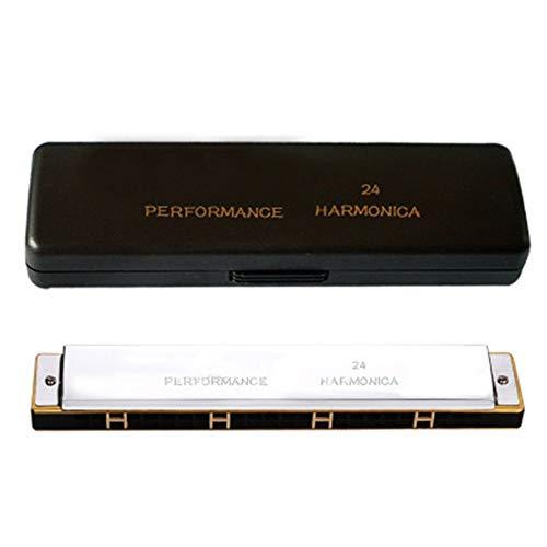 Keliour Waage Harmonica Harmonica 24-Loch-Mundharmonika-Set for Kinder und Anfänger mit Koffern und Pflegetuch C (Color : Silver, Size : One Size)