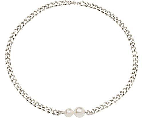 Gemshine Halskette Collier mit weißen Zuchtperlen in Silber oder hochwertig vergoldet. Qualitätsvoller Schmuck Made in Spain. Im eleganten Etui mit Geschenkverpackung, Metall Farbe:Silber