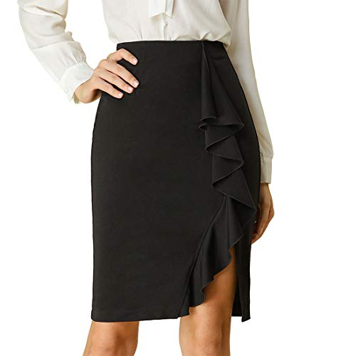 Allegra K Women's Knee Length Pencil Skirt Ruffle Slit Hem Work Bodycon Fitted Waisted Midi Skirts XS Black